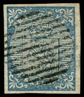 Lot 27016:1855 Imperf SG #1 4sk blue 4 good even margins, 12-bar gridiron cancel, Cat £180
