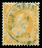 Lot 4134:1856-60 King Oscar I SG #4 2sk orange-yellow, blue Frederiksstad cancel, Cat £150.