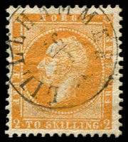 Lot 27019:1856-60 King Oscar I SG #5 2sk deep brown-orange, Lillehammer cancel, Cat £190.