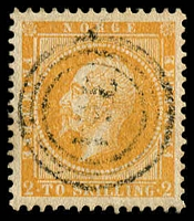 Lot 27018:1856-60 King Oscar I SG #5 2sk deep brown-orange, light '351' cancel of Önæs, Cat £190.