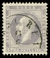 Lot 27021:1856-60 King Oscar I SG #6 3sk lilac, poor Porsgrund cancel, Cat £90.