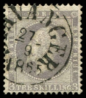 Lot 27022:1856-60 King Oscar I SG #6 3sk lilac, Stavanger cancel, Cat £90.