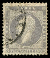 Lot 27023:1856-60 King Oscar I SG #6 3sk lilac, slightly grubby, Cat £95.
