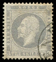 Lot 27024:1856-60 King Oscar I SG #6 3sk lilac, Cat £95.