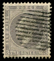 Lot 27020:1856-60 King Oscar I SG #6 3sk lilac, 11-bar gridiron cancel, Cat £90.