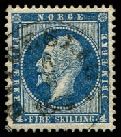 Lot 4135 [3 of 3]:1856-60 King Oscar I SG #7-9 4sk deep blue, Hvideseids? cancel, 4sk greenish blue & 4sk light greenish blue with fine Hammerfest cancel, Cat £117. (3)