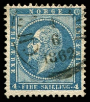 Lot 4135 [1 of 3]:1856-60 King Oscar I SG #7-9 4sk deep blue, Hvideseids? cancel, 4sk greenish blue & 4sk light greenish blue with fine Hammerfest cancel, Cat £117. (3)