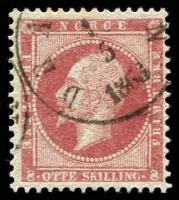Lot 4136:1856-60 King Oscar I SG #11 8sk dull lake, Dramen cancel, Cat £50.
