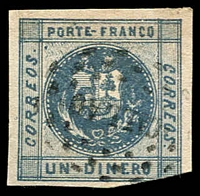 Lot 4324:1858-59 SG #6a 1d slate-blue 3½ margins, 'CALLAO' in dots cancel, Cat £45
