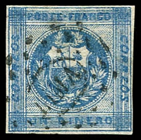 Lot 4171:1860 SG #7 1d blue 4 margins, 'LIMA' in dots cancel, Cat £10.5