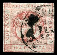 Lot 4325 [2 of 2]:1860 SG #9a 1p rose 3 margins, double-circle Arequipa cancel of 18/FEB/62, Cat £43. Plus forgery of same stamp. (2)