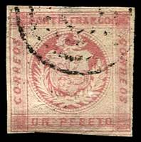 Lot 4325 [1 of 2]:1860 SG #9a 1p rose 3 margins, double-circle Arequipa cancel of 18/FEB/62, Cat £43. Plus forgery of same stamp. (2)