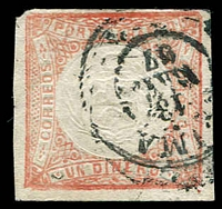 Lot 4326 [1 of 3]:1862-66 Embossed Arms SG #14 1d pale vermilion x3 with cancels of Yquitos, Arica & Lima (3)