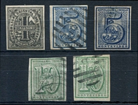 Lot 4328:1866-76 Large Numeral Imperf SG #28-30 1c grey-black type I (mint), 5c blue, 5c deep blue, 10c green & 10c yellow-green, all 4 margins, all London printings?, Cat £48 (5)