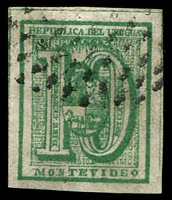 Lot 4176 [2 of 3]:1866-76 Large Numeral Imperf SG #29,30,32 5c blue, 10c green & 20c dull rose, all 4 margins (20c 2 close), all Montevideo printings?, Cat £44 (3)