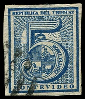 Lot 4176 [3 of 3]:1866-76 Large Numeral Imperf SG #29,30,32 5c blue, 10c green & 20c dull rose, all 4 margins (20c 2 close), all Montevideo printings?, Cat £44 (3)