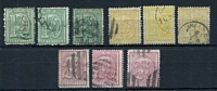 Lot 4329:1866-76 Large Numeral Perf 12½-13½ SG #34-36 10c green x3, 15c yellow x4, 20c dull rose & 20c bright rose x2, Cat £44 (9)