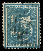 Lot 4087 [2 of 3]:1866-76 Large Numeral Perf 12 SG #37,38,38b 1c black (mint), 5c blue & 5c deep blue, Cat £24 (9)