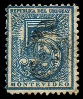 Lot 4087 [1 of 3]:1866-76 Large Numeral Perf 12 SG #37,38,38b 1c black (mint), 5c blue & 5c deep blue, Cat £24 (9)