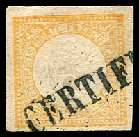 Lot 4174:1872 Embossed Arms SG #22 1p yellow-buff 4 margins.