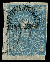 Lot 4330 [3 of 3]:1881 Arequipa Civil War Issue SG #81 10c blue on pelure paper 3½ margins, pen cancel and cds. Plus forgeries of 25c x2 (brown-red and carmine). (3)