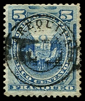 Lot 4177 [2 of 3]:1884 Arequipa D/Circle on Peru Stamps SG #96 5c blue & 5c ultramarine. Plus 1885 5c blue 4 good margins. (3)