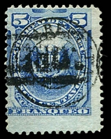 Lot 4177 [3 of 3]:1884 Arequipa D/Circle on Peru Stamps SG #96 5c blue & 5c ultramarine. Plus 1885 5c blue 4 good margins. (3)