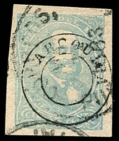 Lot 4177 [1 of 3]:1884 Arequipa D/Circle on Peru Stamps SG #96 5c blue & 5c ultramarine. Plus 1885 5c blue 4 good margins. (3)