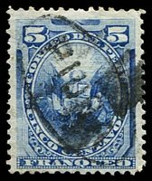Lot 4178:1884 Piura Oval on Peru Stamps SG #176 5c blue