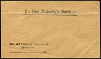 Lot 7555 [1 of 2]:1900 Post & Telegraph Department unused OHMS envelope with red seal on back flap, small faults. Rare.