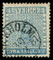 Lot 25601:1855-58 Arms SG #2 4sk pale blue, Cat £90.