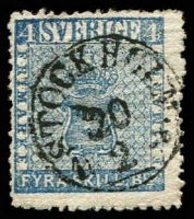 Lot 25602:1855-58 Arms SG #2a 4sk blue, Cat £130.