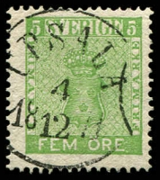 Lot 25605:1858-72 New Currency SG #6b 5ö yellow-green, Cat £24.