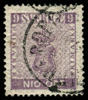 Lot 4408:1858-72 New Currency SG #7 9ö purple, Cat £400.