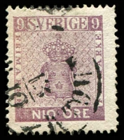Lot 25608:1858-72 New Currency SG #7a 9ö pale purple, Cat £300.