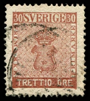Lot 25609:1858-72 New Currency SG #10 30ö red-brown, Cat £44.