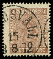 Lot 28509:1858-72 New Currency SG #10a 30ö chocolate, Sundsvall cancel, Cat £60.