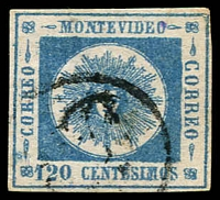 Lot 4545:1860 Montevideo Thick Figures SG #18c 120c blue on thick paper 4 margins