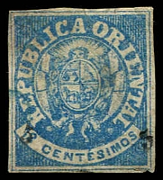 Lot 4514:1866 Surcharges SG #24 5 on 12c blue, 4 close margins, regummed?, Cat £28
