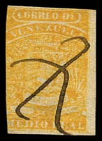 Lot 4515 [1 of 2]:1859 Arms Coarse Impression SG #6 1½r yellow 3 margins, pen cancel, Cat £17. Plus 2r red forgery (2)