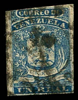 Lot 4547:1859 Arms Fine Impression SG #2 1r blue 3½ margins, messy cancel, Cat £28