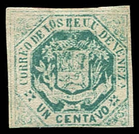 Lot 4548 [2 of 2]:1866-68 Arms SG #23 1c blue-green 4 margins (1 touching), Cat £200. Plus forgery of ½c yellow-green. (2)