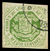 Lot 4548 [1 of 2]:1866-68 Arms SG #23 1c blue-green 4 margins (1 touching), Cat £200. Plus forgery of ½c yellow-green. (2)