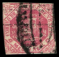 Lot 4290 [2 of 2]:1876-77 2-Line Ovpt SG #81,81a ½r rose-pink (cut-into) & ½r carmine-pink (close/slightly cut-into), both with Ovpt inverted, Cat £16.