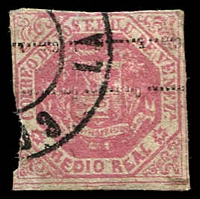 Lot 4290 [1 of 2]:1876-77 2-Line Ovpt SG #81,81a ½r rose-pink (cut-into) & ½r carmine-pink (close/slightly cut-into), both with Ovpt inverted, Cat £16.