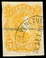 Lot 4550 [3 of 3]:1879 2nd Escualas Issue SG #84a,88 5c yellow, used & 90c blue MNG, both 4 margins Cat £21. Plus used 1880 25c yellow P11 (3)