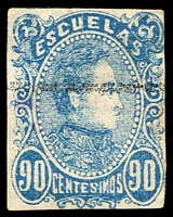 Lot 4550 [1 of 3]:1879 2nd Escualas Issue SG #84a,88 5c yellow, used & 90c blue MNG, both 4 margins Cat £21. Plus used 1880 25c yellow P11 (3)