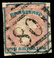 Lot 2073:1854-55 Imperf Calvert Woodblocks SG #34 1/- Registered Die 1, 4-margins, fine '80' BN of Swan Hill, Cat £200.
