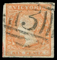 Lot 2172:1854-55 Imperf Calvert Woodblocks SG #32a 6d dull orange four good margins, couple of trivial faults, retail $40, nice BN '3'.
