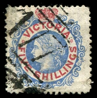 Lot 2075:1867-81 Laureates Wmk V/Crown Perf 13 SG #140c 5/- grey-blue & carmine Die I, small tear, fine '177' BN of Omeo, Cat £28.